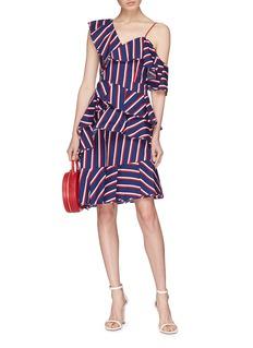 alice + olivia 'Laflora' asymmetric ruffle stripe one-shoulder dress
