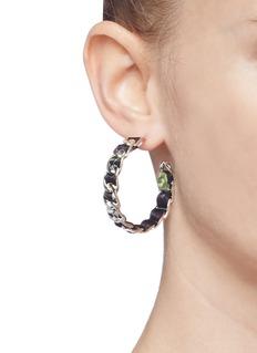 W.Britt Curb chain floral print ribbon hoop earrings