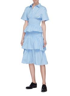 Shushu/Tong 层叠荷叶边拼色格纹府绸衬衫裙