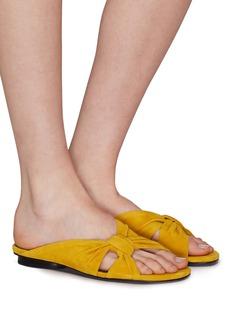 Pedder Red 'Renee' knot strap suede slide sandals