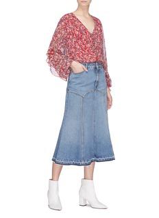 Nicholas Ruffle sleeve blossom print silk crepe blouse