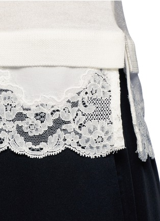 Detail View - Click To Enlarge - Theory - 'Lilany' lace hem short sleeve wool sweater