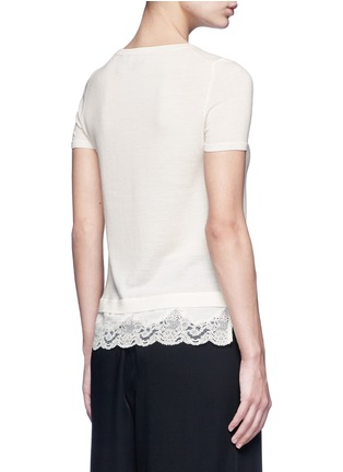 Back View - Click To Enlarge - Theory - 'Lilany' lace hem short sleeve wool sweater