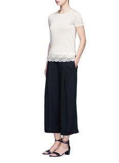 Theory'Lilany' lace hem short sleeve wool sweater