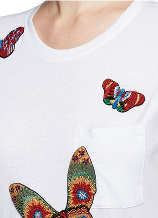 Detail View - Click To Enlarge - Valentino - Beaded butterfly embroidery T-shirt