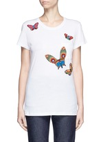 Beaded butterfly embroidery T-shirt