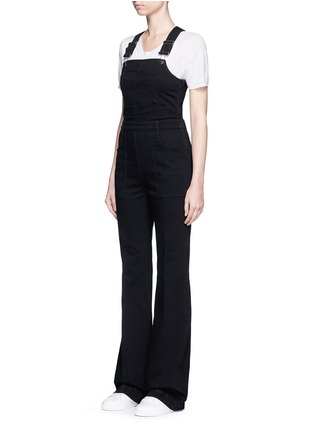 Front View - Click To Enlarge - Stella McCartney - Slim flared leg denim dungarees
