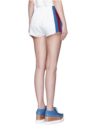 Back View - Click To Enlarge - Stella McCartney - 'Sybille' embroidered football patch stripe cady shorts