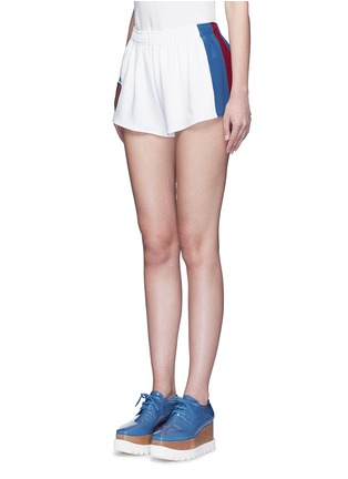 Front View - Click To Enlarge - Stella McCartney - 'Sybille' embroidered football patch stripe cady shorts