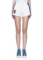 'Sybille' embroidered football patch stripe cady shorts