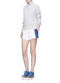 STELLA MCCARTNEY 'Sybille' embroidered football patch stripe cady shorts