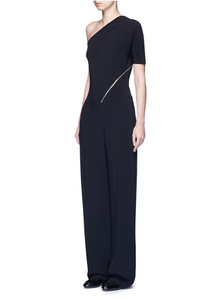 Front View - Click To Enlarge - Stella McCartney - 'Elisa' one shoulder zip front crepe jumpsuit