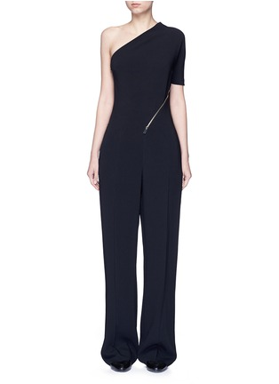 Main View - Click To Enlarge - Stella McCartney - 'Elisa' one shoulder zip front crepe jumpsuit