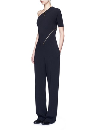 Figure View - Click To Enlarge - Stella McCartney - 'Elisa' one shoulder zip front crepe jumpsuit