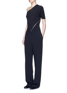 STELLA MCCARTNEY 'Elisa' one shoulder zip front crepe jumpsuit