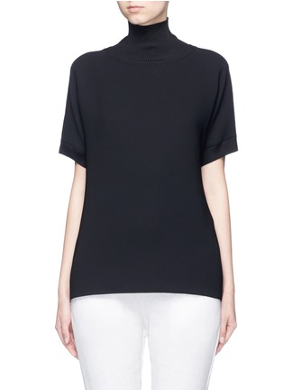 Main View - Click To Enlarge - Vince - Ribbed turtleneck crepe top