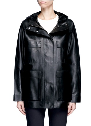 The Row-'Dusa' hooded leather coat
