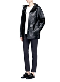 THE ROW'Dusa' hooded leather coat