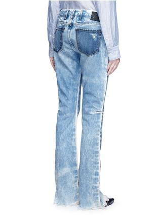 Back View - Click To Enlarge - Tortoise - Distressed washed slim bootcut jeans