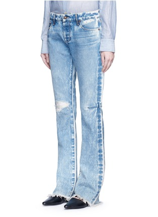 Front View - Click To Enlarge - Tortoise - Distressed washed slim bootcut jeans