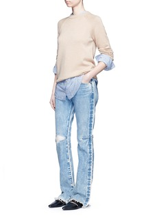 Tortoise Distressed washed slim bootcut jeans