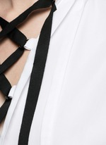 Open back cotton piqué lace-up peasant top