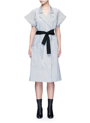 Main View - Click To Enlarge - Tome - Satin stripe belted coat dress