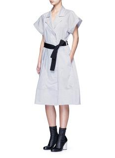 TomeSatin stripe belted coat dress