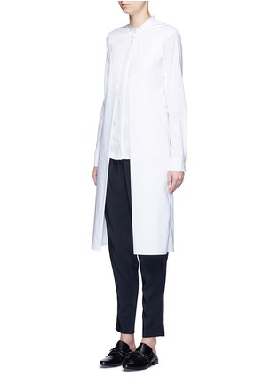 Front View - Click To Enlarge - Rosetta Getty - Split front cotton blend poplin long shirt