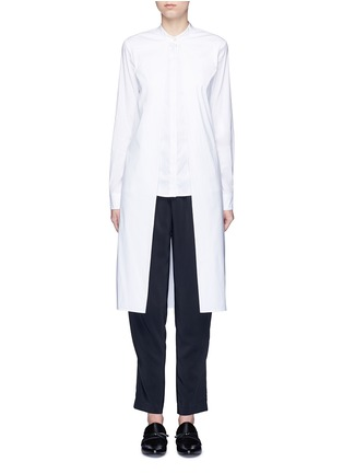 Main View - Click To Enlarge - Rosetta Getty - Split front cotton blend poplin long shirt