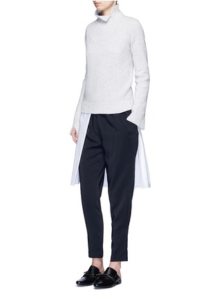 Figure View - Click To Enlarge - Rosetta Getty - Split front cotton blend poplin long shirt
