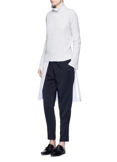 Rosetta GettySplit front cotton blend poplin long shirt