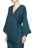 Cutout sleeve kimono wrap top