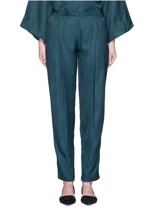Rosetta Getty - Peacock jacquard pleat front pants