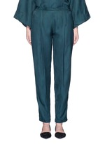 Peacock jacquard pleat front pants