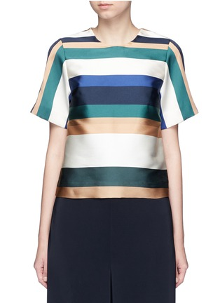 Main View - Click To Enlarge - Rosetta Getty - Stripe silk blend satin cropped T-shirt