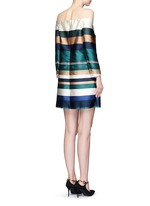 Off-shoulder stripe silk blend satin dress