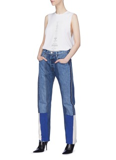 TRE by Natalie Ratabesi 'Selena' stripe outseam patchwork jeans