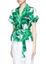 Embellished banana leaf print belted silk pyjama top