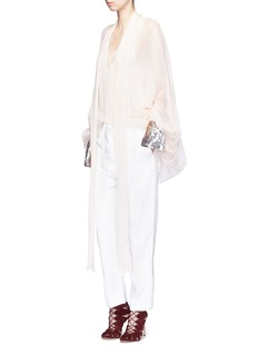 Chloé Sequin cuff balloon sleeve silk mousseline blouse