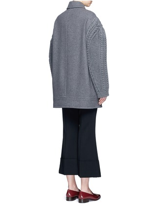 Back View - Click To Enlarge - Stella McCartney - Cable knit sleeve felted wool blend coat