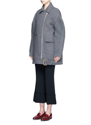 Front View - Click To Enlarge - Stella McCartney - Cable knit sleeve felted wool blend coat
