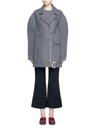 Main View - Click To Enlarge - Stella McCartney - Cable knit sleeve felted wool blend coat