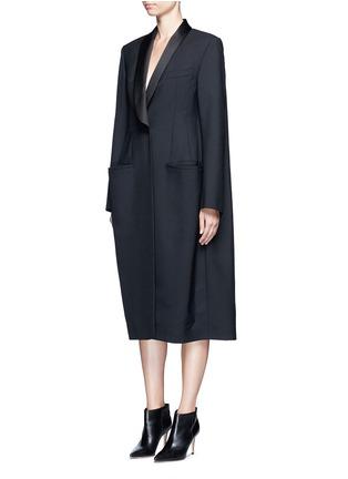 Front View - Click To Enlarge - Balenciaga - Shawl lapel virgin wool coat