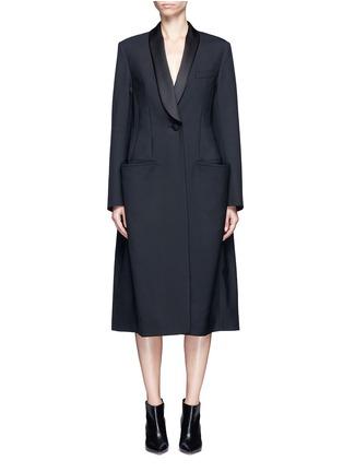 Balenciaga-Shawl lapel virgin wool coat