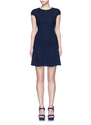 Main View - Click To Enlarge - alice + olivia - 'Dacey' drop waist cable knit dress
