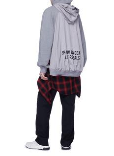 Juun.J Slogan embroidered layered hood zip outseam hoodie