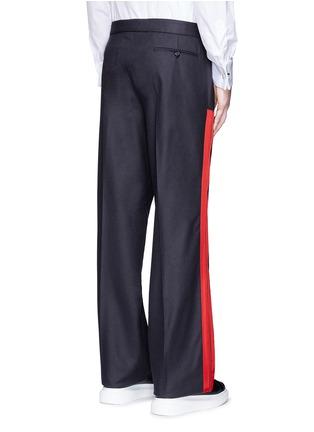 Back View - Click To Enlarge - Alexander McQueen - Side stripe wool flannel wide leg pants