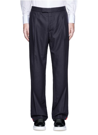 Main View - Click To Enlarge - Alexander McQueen - Side stripe wool flannel wide leg pants