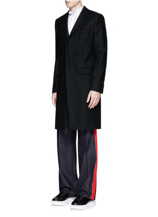 Figure View - Click To Enlarge - Alexander McQueen - Side stripe wool flannel wide leg pants